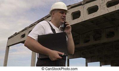 téléphone, fâché, crier, ingénieur