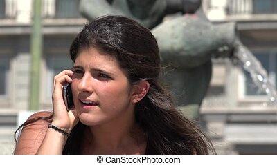 téléphone, femme fâchée, argument