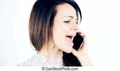 téléphone, femme fâchée, conversation