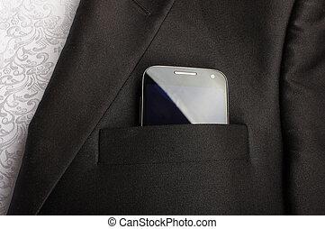 téléphone, formel, intelligent, bureau, vêtir