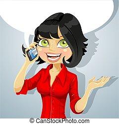 téléphone, girl, brunette, conversation