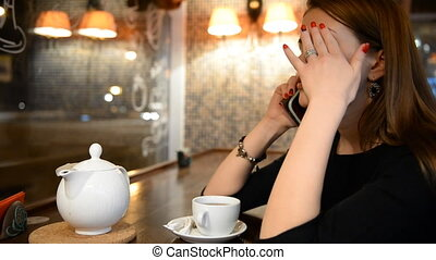téléphone, girl, conversation, jeune