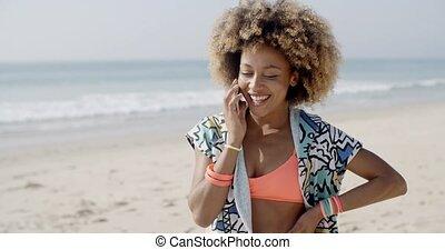 téléphone, girl, jeune, conversation
