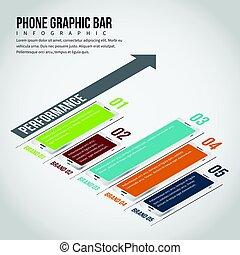 téléphone, graphique, infographic, barre