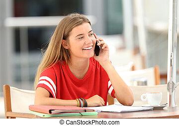 téléphone, heureux, barre, étudiant, conversation