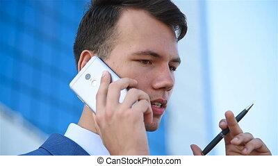 téléphone, homme affaires, cellule, conversation