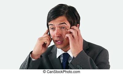 téléphone, homme affaires, conversation, triste