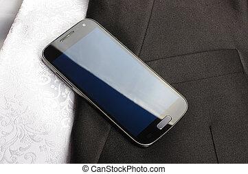 téléphone, homme affaires, intelligent, vêtements