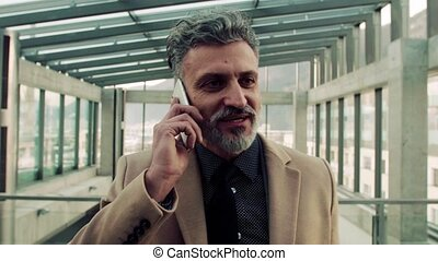 téléphone, homme affaires, smartphone, call., confection