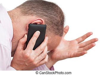 téléphone, homme, frustré, conversation