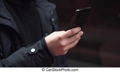 téléphone., homme, intelligent, utilisation, fin, mobile, haut