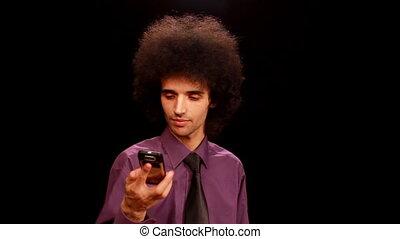 téléphone, homme, jeune, conversation