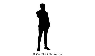 téléphone, homme, silhouette, business, conversation