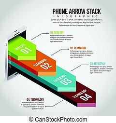 téléphone, infographic, pile, flèche
