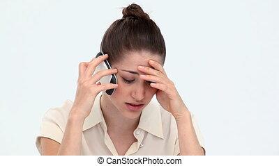 téléphone, inquiété, mobile, téléphoner, femme