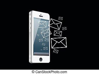 téléphone, intelligent, courrier