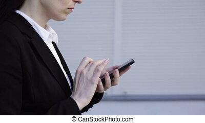 téléphone, marche, femme, intelligent, business
