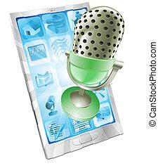 téléphone, microphone, concept, app
