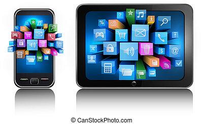 téléphone, mobile, pc tablette