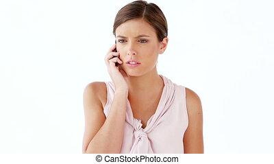téléphone, mobile, utilisation, femme, heureux