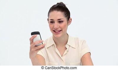 téléphone, mobile, utilisation, femme, jeune