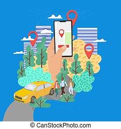 téléphone, mobile, vecteur, ordre, illustration, taxi., concept