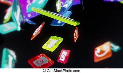 téléphone, noir, intelligent