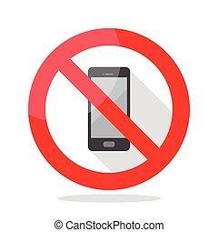 téléphone, non, signe