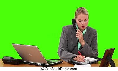 téléphone, notes, conversation, femme affaires, prendre