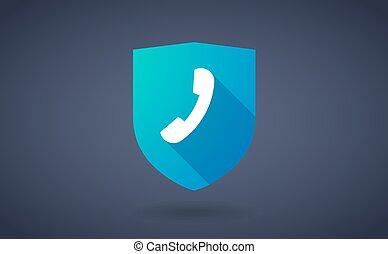 téléphone, ombre, bouclier, long, icône