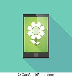 téléphone, ombre, fleur, long, icône