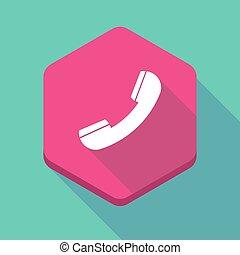 téléphone, ombre, hexagone, long, icône