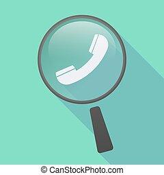 téléphone, ombre, icône, long, loupe