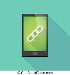 téléphone, ombre, long, chaîne, icône