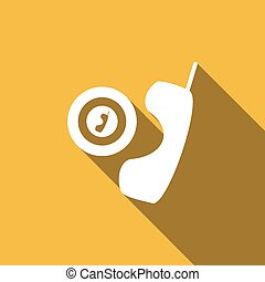 téléphone, ombre, long, icône