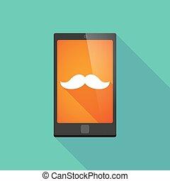 téléphone, ombre, moustache, long, icône