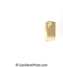 téléphone, or, blanc, render, mobile, smartphone, isolé, icône, illustration, 3d, arrière-plan.