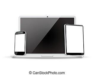 téléphone, ordinateur portable, ensemble, tablette, mobile