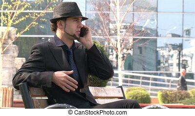 téléphone, parc, homme affaires