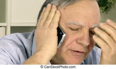 téléphone, personne agee, homme affaires