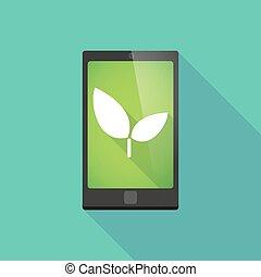 téléphone, plante, ombre, long, icône
