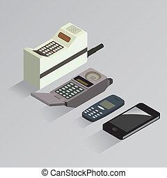 téléphone portable, évolution, vecteur