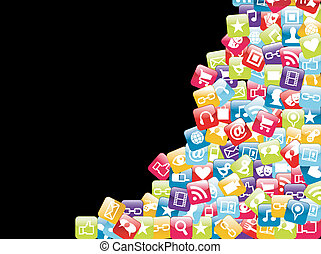 téléphone portable, app, fond, icônes