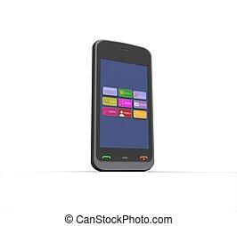 téléphone portable, arrière-plan noir, blanc, 3d