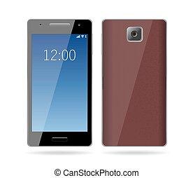 téléphone portable, blanc, smartphone, isolé
