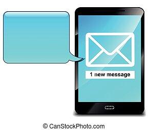 téléphone portable, bleu, parole