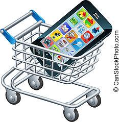 téléphone portable, chariot