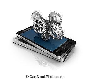 téléphone portable, engrenages