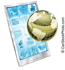 téléphone portable, globe, concept