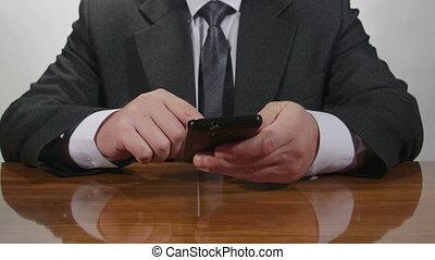 téléphone portable, homme, business, dactylographie